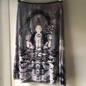 Vivienne Tam Skirt size 1 gray black nylon Buddha
